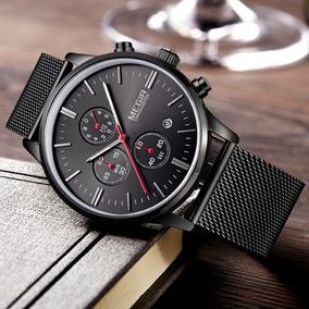 Reloj Elegante Hombre Megir Cronometro Fechador Metalico