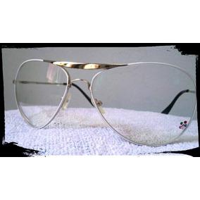 Armação Óculos Modelo Aviador Branco/ Com Lente Antirreflexo