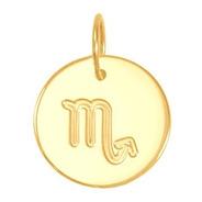 Pingente Ouro 18k Medalha Signo Escorpião 13mm