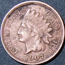 Un Centavo 1907 Eeuu Cabeza Indio Cobre Rara Buen Estado Ipz