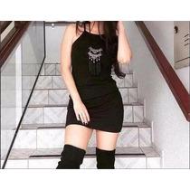 Vestido Curto Alça Preto Cinza Listrado Blogueira Instagram