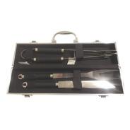 Set Asado Parrillero 3 Piezas Cuchillo Tenedor Y Pinza