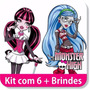 Kit Com 6 Adesivos Decorativos Monster High Mais Brindes