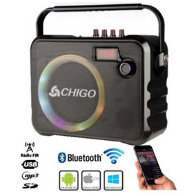 Caixa Som Bluetooth Radio Fm Mp3 Usb Sd Aux. Microfone S Fio