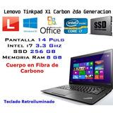 Lenovo Thinkpad X1 Carbon Gen 2 Ultrabook 14in I7 8gb 250ssd