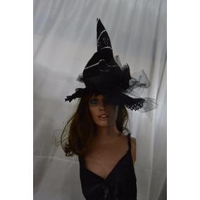 Sombrero D Bruja Adulta Día Muertos Halloween Disfraz Negro