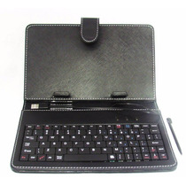 Capa Case Couro P/ Tablet 7 Pol. Teclado Usb + Caneta Touch