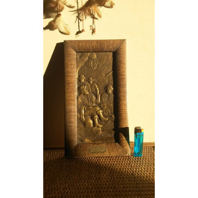 Antiguo Cuadro De Cobre Labrado Don Viscacha Con Publicidad