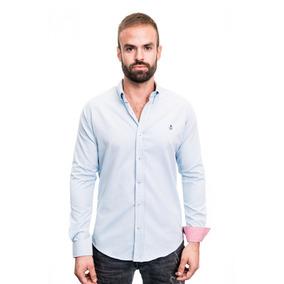Camisa La C Azul Cielo Lisa Reversible Rojo Slim Fit.
