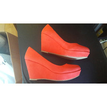 Zapatos Wedge Rojos 5mx Plataforma Corrida Pumps Terra