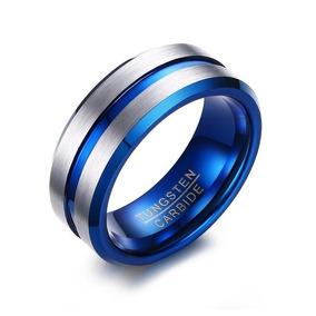Anel Masculino Azul Prateado Fosco Homem Tungstênio 8 Mm
