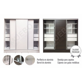 Placard 2 Metros 3 Puertas Corredizas Aluminio 4 Cajones Exc