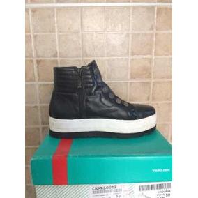 Zapatillas Botita Cuero Negras Viamo Plataforma 39 Nuevas