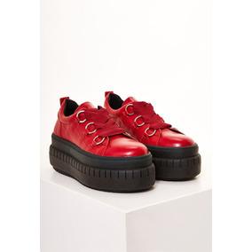 Zapatillas De Mujer Heyas Con Plataforma Loriana Rojo