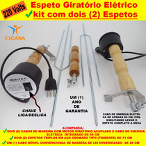 Espeto Giratório Elétrico Kit Com Dois (2) Espetos Completos