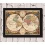 Poster Com Moldura Antigo Mapa Do Mundo