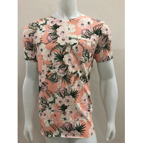 Camisa Camiseta Masculina Floral Rosa