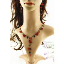 Collar Y Aretes Vintage Rojo Cerezas