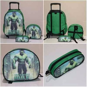 Kit Mochila Infantil Rodinha Hulk + Lancheira + Estojo Jr