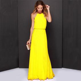 Vestido Largo De Gasa Sin Mangas Para Fiesta Amarillo