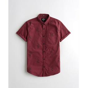 Camisa Hollister Manga Corta Color Vino Estampada Caballero