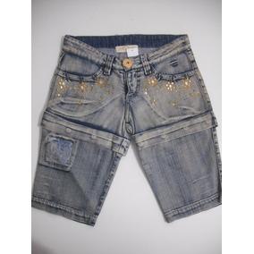 Shorts Bermuda Jeans Tam 36 Ótimo Estado Com Pedrarias