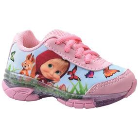 Tênis Infantil Marsha E O Urso Frozen Minie Com Led Luz