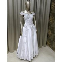 Vestido Noiva Tradicional Branco Cetim Renda Prata