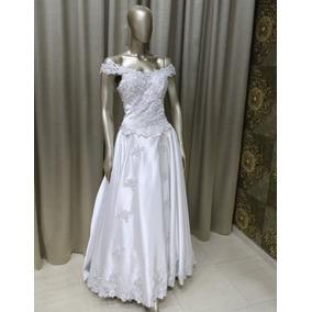 Vestido Noiva Tradicional Branco Cetim Renda Prata Tn-109