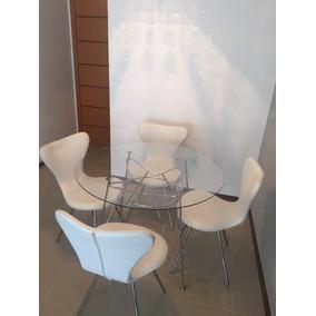 Mesa Inox Tampo Vidro 4 Cadeiras Formiga Jacobsen Corino Bco