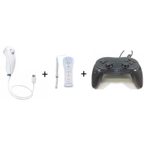 Kit Wii - 1x Controle Classic + 1x Nunchuk + 1x Remote