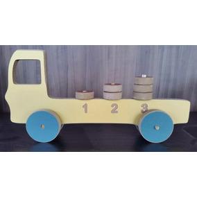Brinquedo Educativo Caminhão 1,2,3 Madeira Mdf Melaminio ...