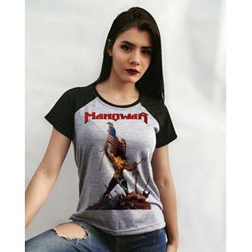 Manowar - Blusa Feminina Raglan - Banda, Rock, Metal
