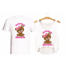 Kit Festa Chá De Bebê Ursinha De Lacinho Crooped E Camiseta