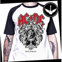 Camiseta Ac/dc Raglan Ou Baby Look Rock Banda Angus Young