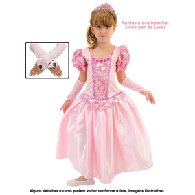 Fantasia Bela Adormecida Princesa Aurora C/ Luvas + Frete