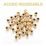 50 Cuentas De Acero Inoxidable Dorado 4mm