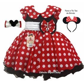 Vestido Infantil Festa Luxo Minnie Vermelha E Tiara E Tictac