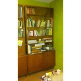 Biblioteca Madera Con Vidrio Y Puertas Bajas