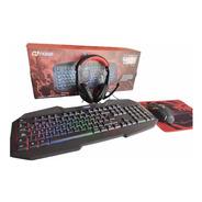 Kit Gamer Noga Teclado Mouse Auricular Pad Combo 4en1 Nkb403