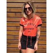 Camiseta Feminina Blusa T-shirt Estampada Capuz Malha Cirre