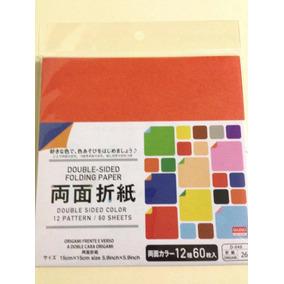 Papel Origami Doble Color 15x15 Cm 60 Hojas Original Japon
