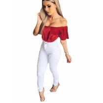 Calça Jeans Hot Pants Cintura Alta Com Lycra Levanta Bumbum