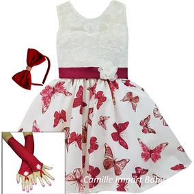 Vestido Infantil Petit Boneca Criança Borboletas 4 Ao 16