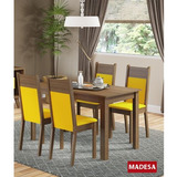 Conjunto Mesa De Jantar Com 4 Cadeiras Madesa Smile - Rústic