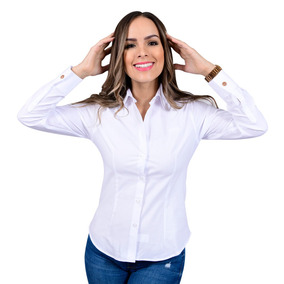 Camisa Porto Blanco Blusa Dama Formal Blanca Lisa D-546