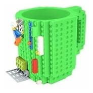 Caneca Bloquinhos Lego Verde Brincar Montar  Build-on Blocos