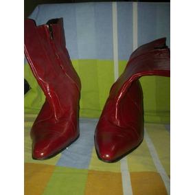 Botines Rojos De Cuero Talla 39
