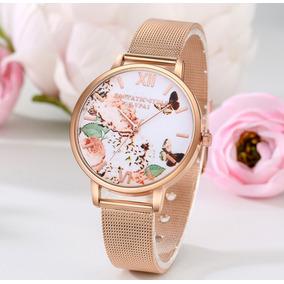 Relógio Feminino Lupai Luxo Dourado Aço Inoxidável