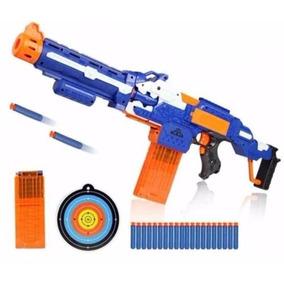 Nerf Rifle N Strike Elétrica Automatica 30 Munições + Alvo